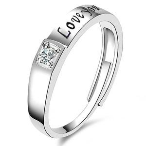 Silver Plated Love You Adjustable Unisex Ring